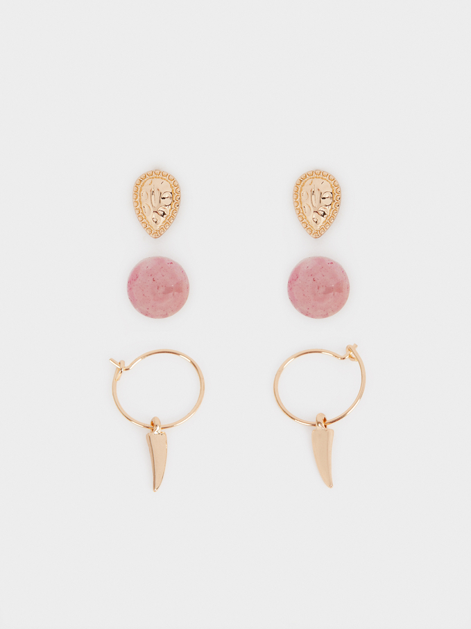 Set Of Earrings With Charms, Pink, hi-res