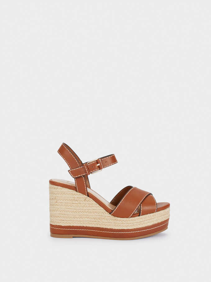 Wedges With Contrast Sole, Camel, hi-res