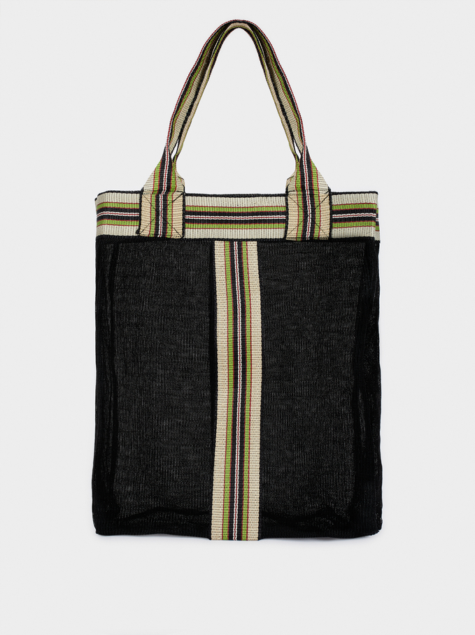 Tote Bag With Contrast Stripe, Black, hi-res