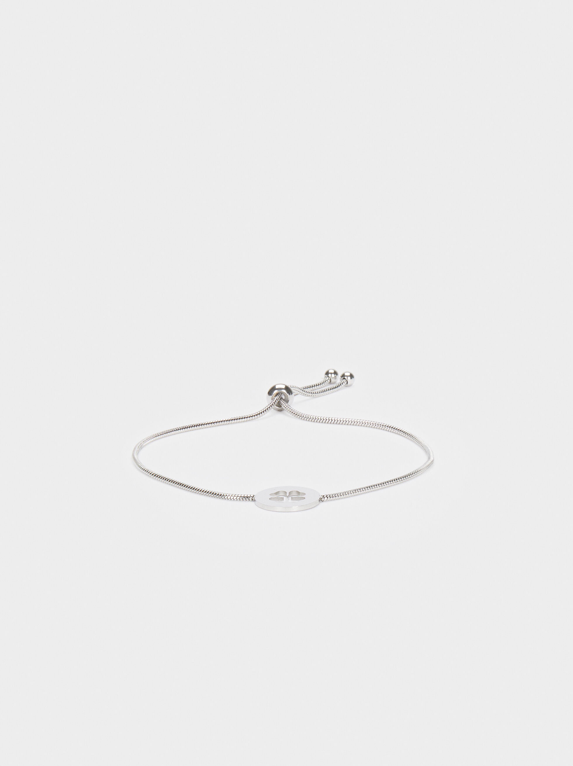 Adjustable Bracelet With Stainless Steel Shamrock Detail, Silver, hi-res