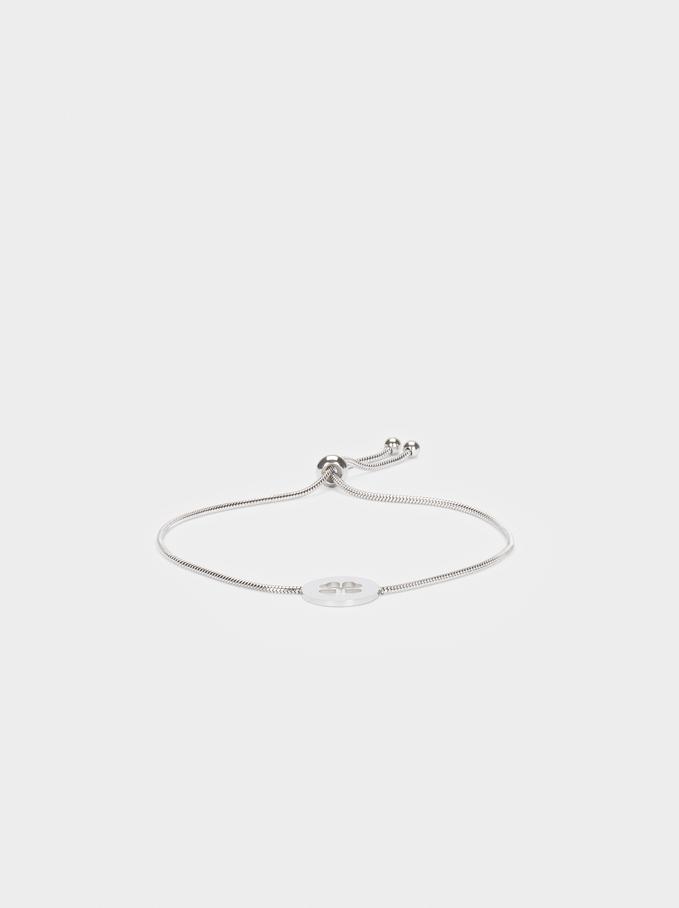 Adjustable Bracelet With Stainless Steel Shamrock Detail, Silver, hi-res