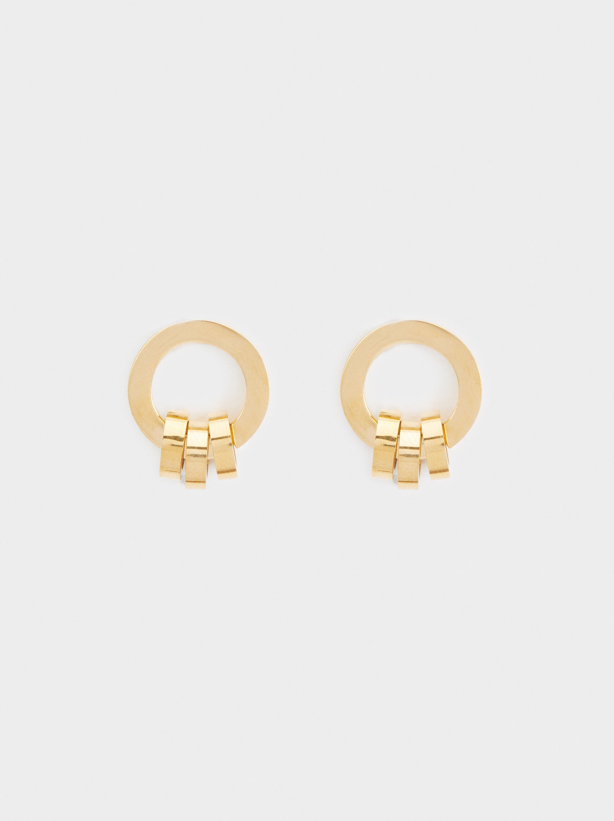 Short Steel Earrings, Golden, hi-res
