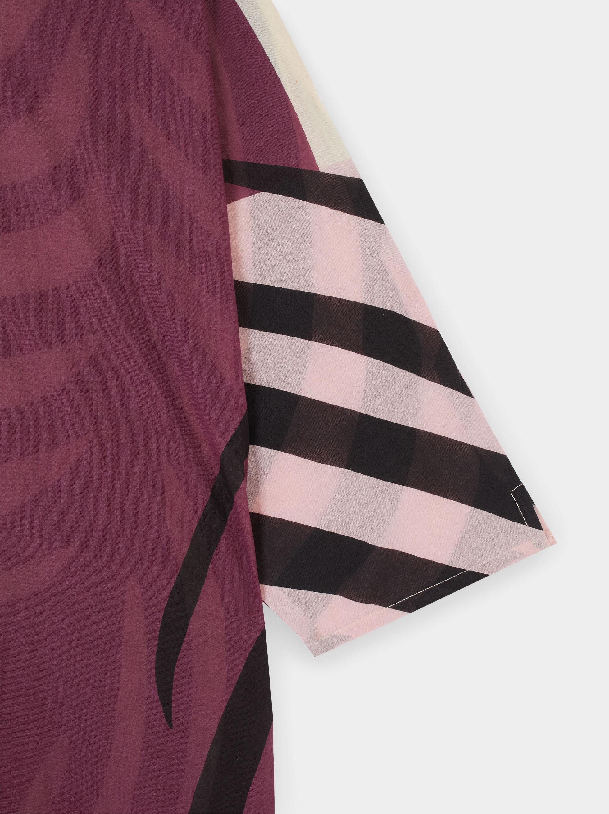 Flowing Leaf Print Dress, Pink, hi-res