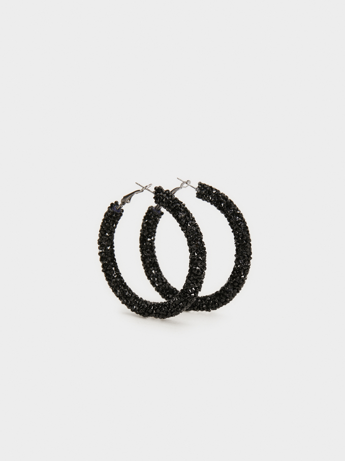 Funky Large Hoop-Earrings, Black, hi-res