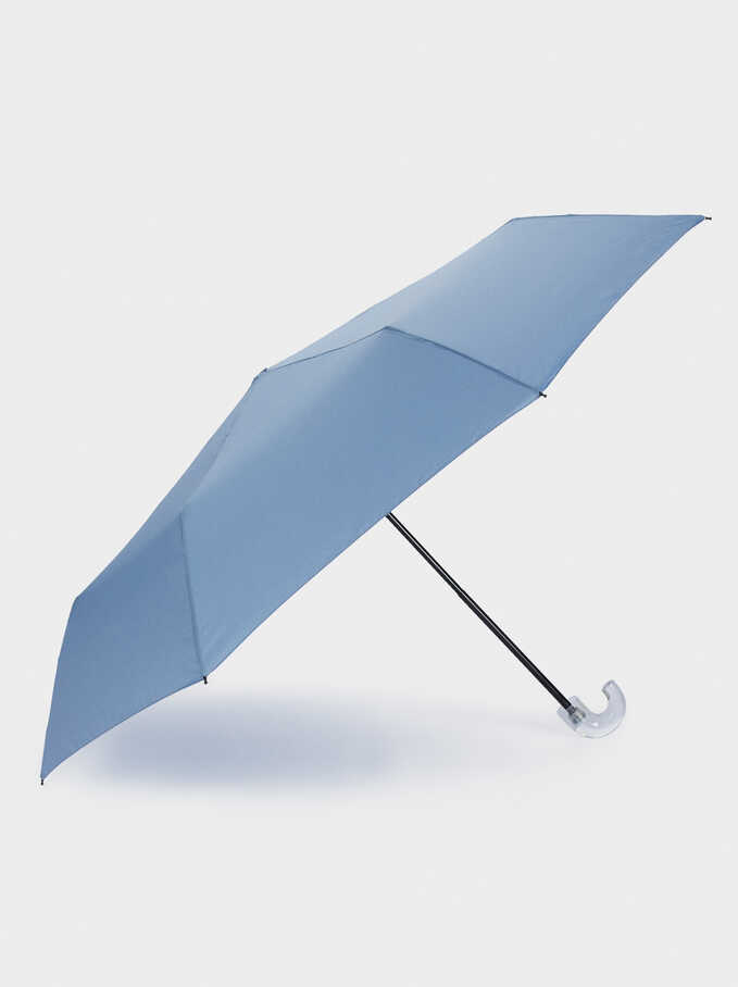 Small Folding Umbrella, Blue, hi-res