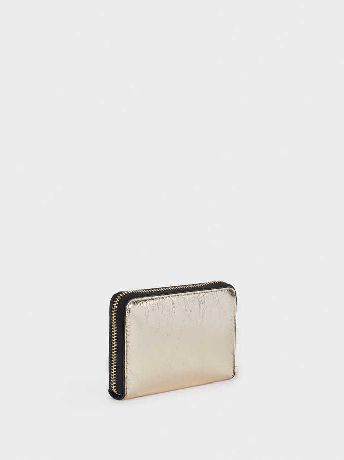 Metallic Compact Purse, Golden, hi-res
