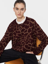 Animal Print Knit Sweater, Bordeaux, hi-res