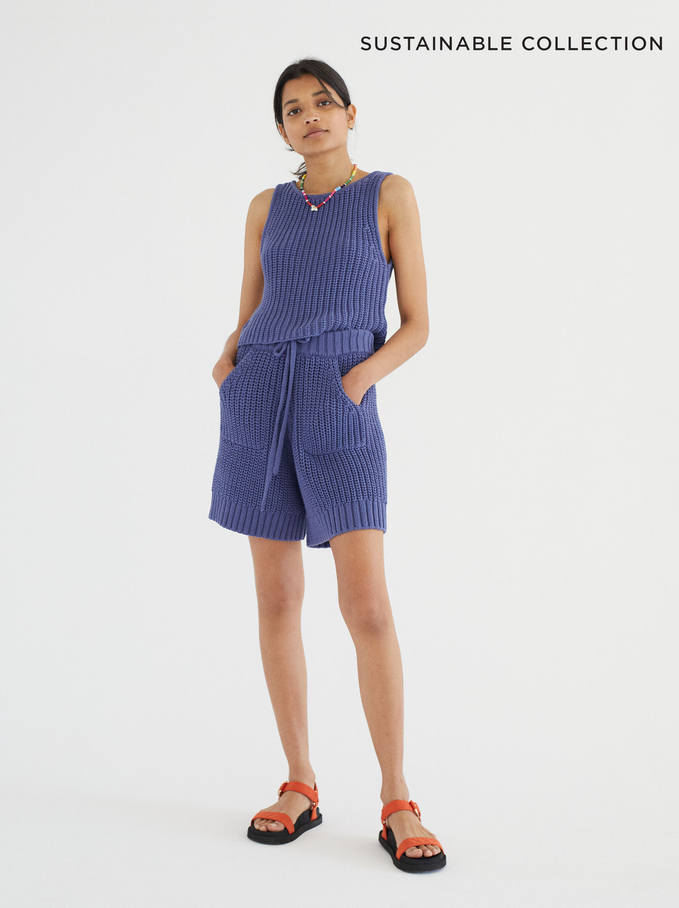 Limited Edition Knit Top Made From Recycled Materials, Blue, hi-res