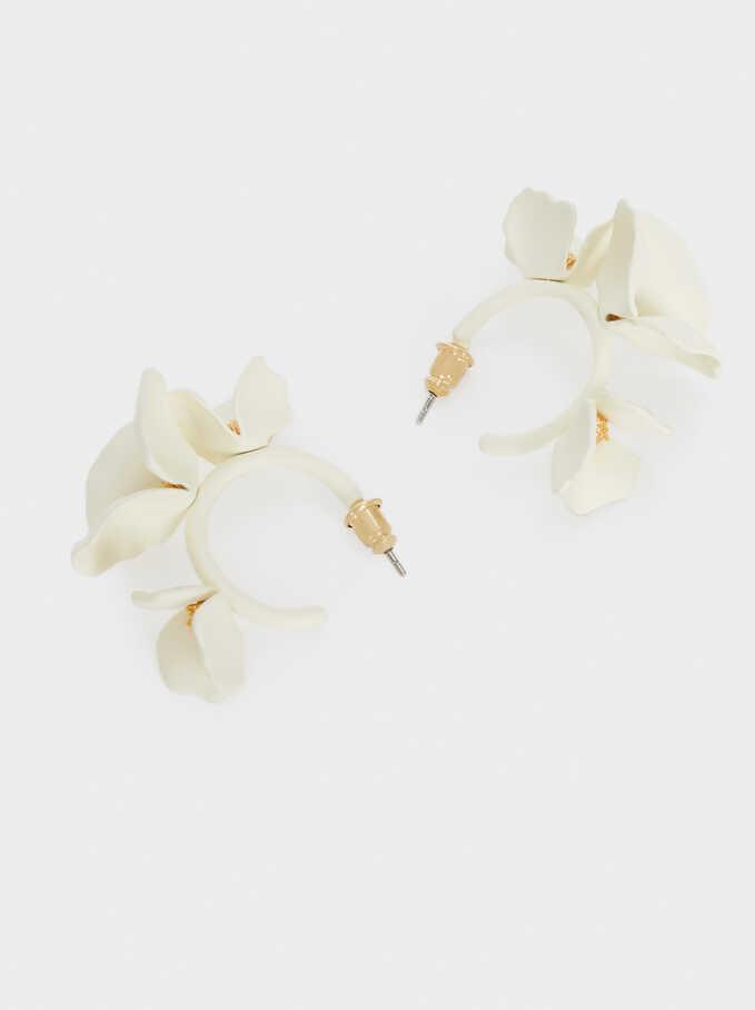 Pendientes De Aro Cortos Flor, Blanco, hi-res