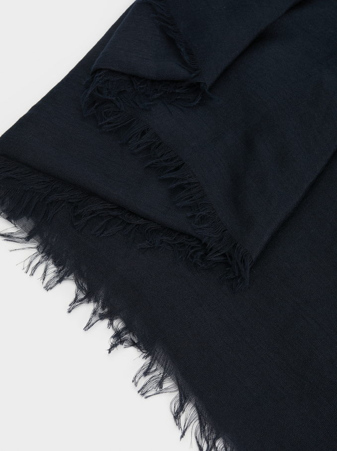 Plain Pashmina, Navy, hi-res