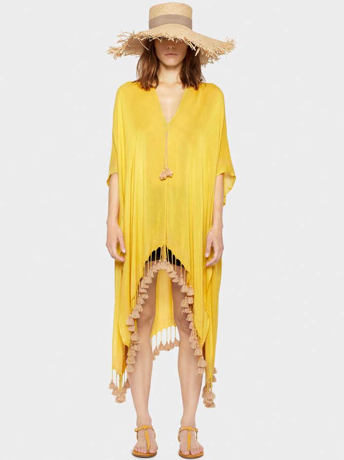 Plain Kimono With Tassels, Yellow, hi-res