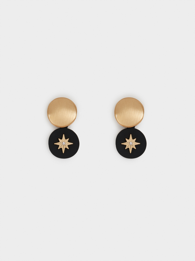 Short Earrings With Star, Golden, hi-res