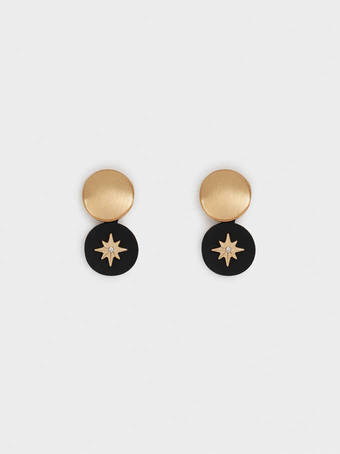 Short Earrings With Star, Golden, hi-res