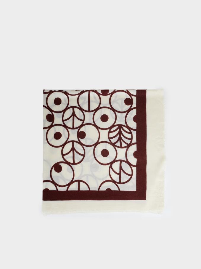 Printed Maxi Scarf, Brick Red, hi-res