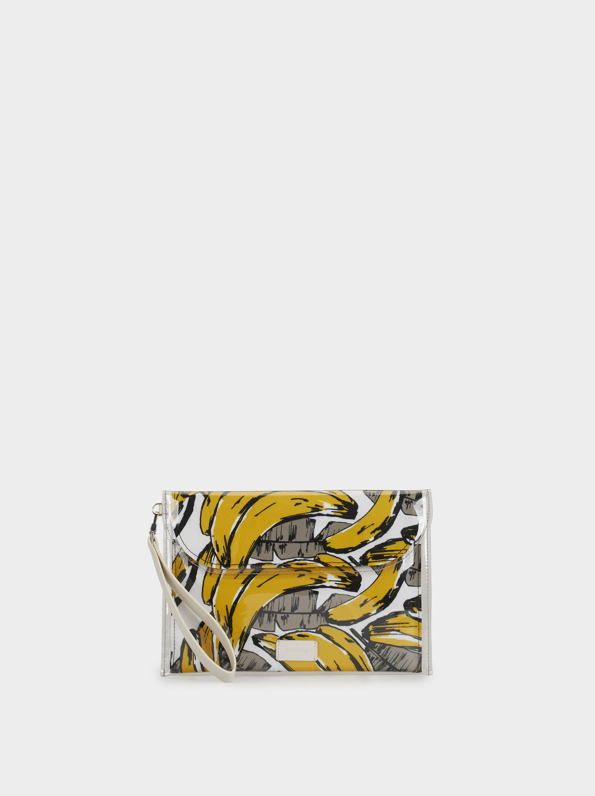 Printed Toiletry Vinyl Bag, Yellow, hi-res