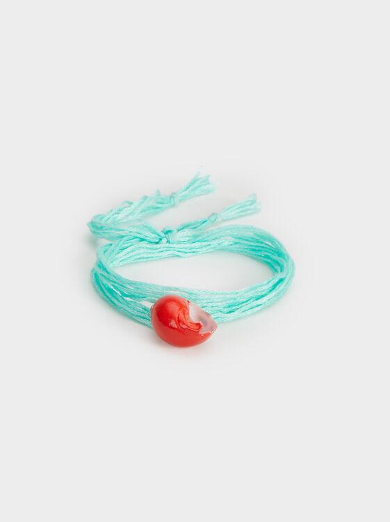 Aqua Adjustable Bracelet With Seashell, Multicolor, hi-res