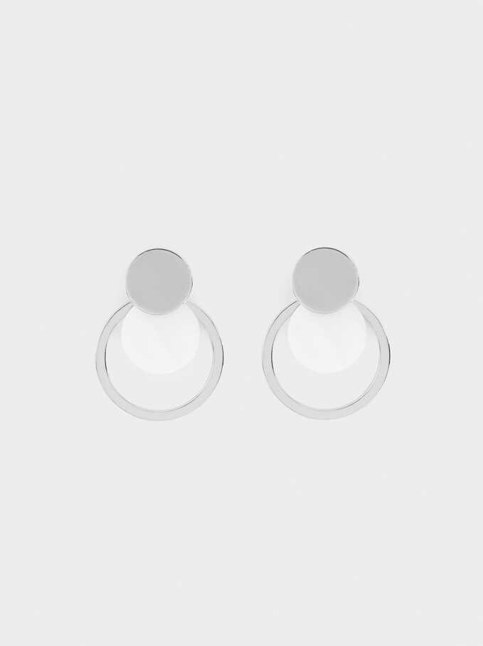 Earrings With Shell, Silver, hi-res