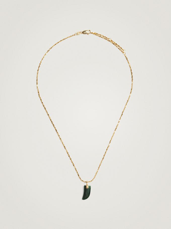 925 Silver Hoop Earrings With Horn, Green, hi-res