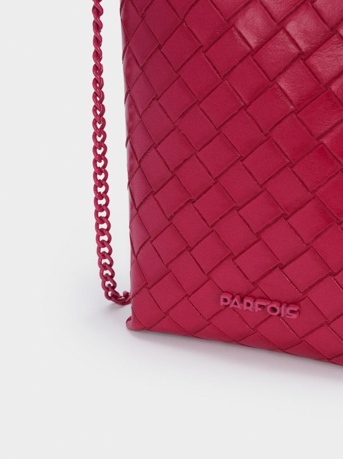 Braided Purse With Chain Handle, Pink, hi-res