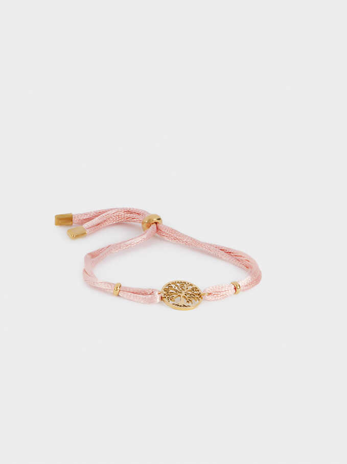 Adjustable Stainless Steel Bracelet With Tree Of Life, Pink, hi-res