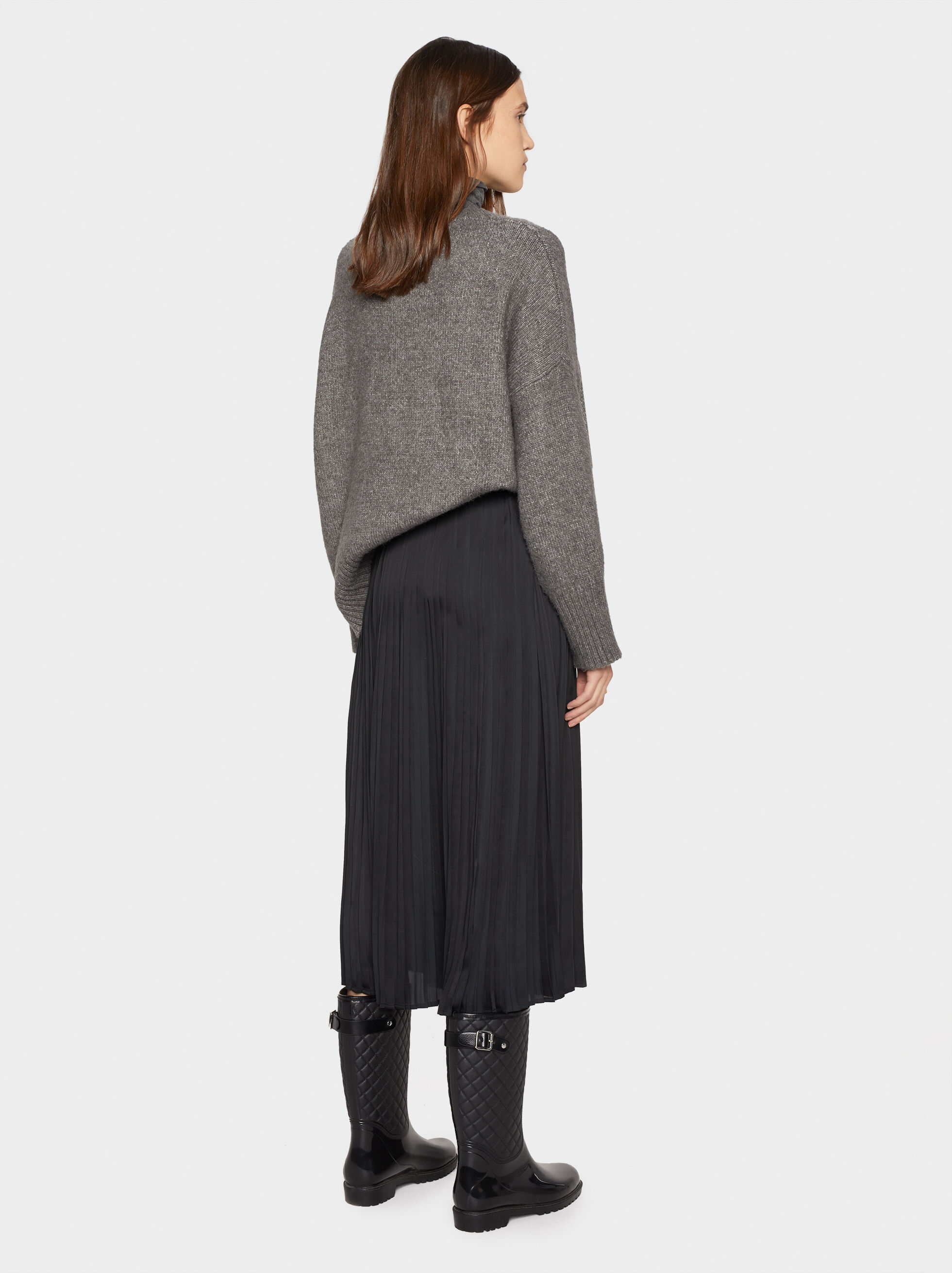Pleated Skirt, Black, hi-res