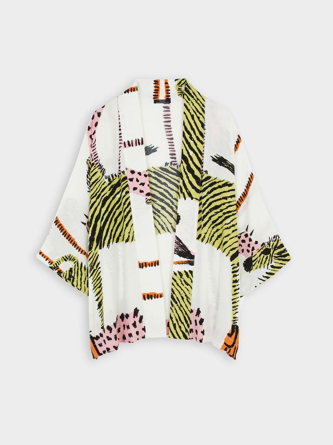Kimono Abierto Con Estampado Animal, Crudo, hi-res