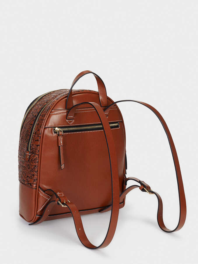 Embossed Backpack With Exterior Pocket, Camel, hi-res