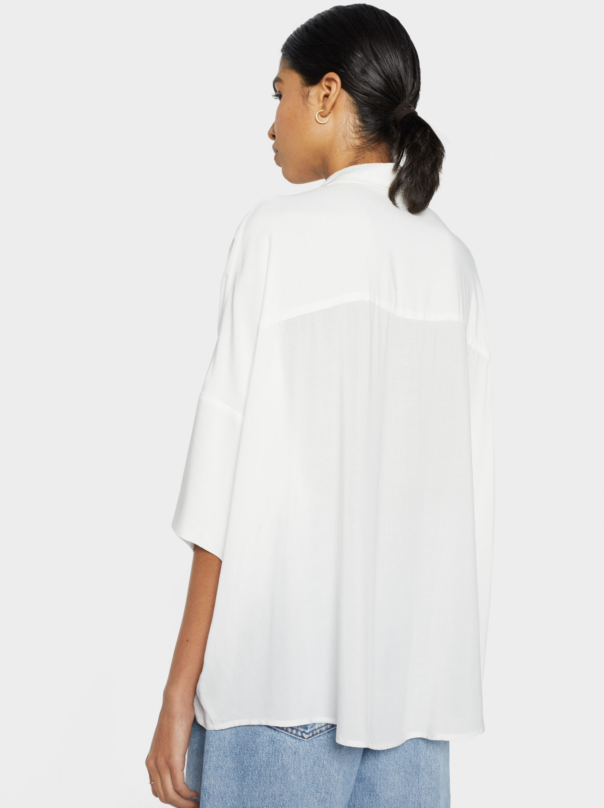 Plain Oversized Shirt, White, hi-res