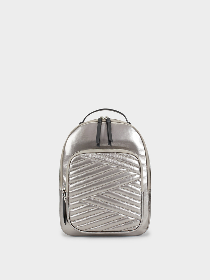 Quilted Backpack, Silver, hi-res