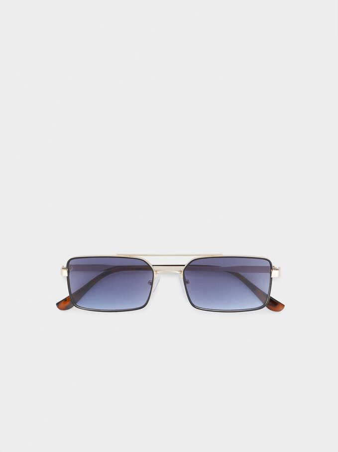 Square Metallic Sunglasses, Black, hi-res
