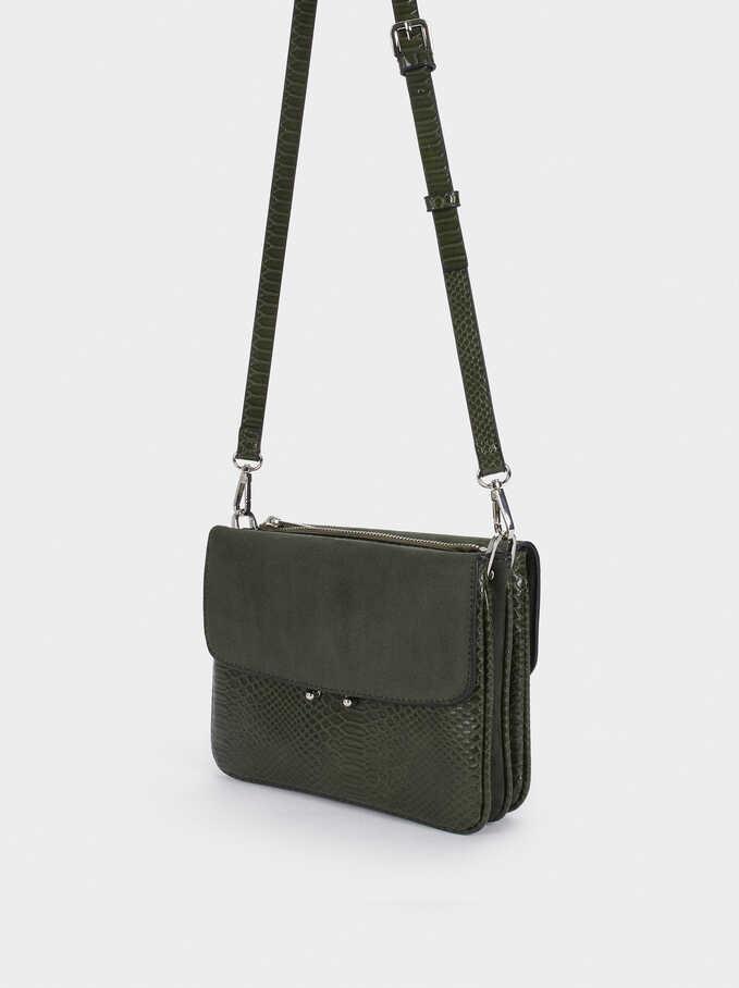Crossbody Bag With Matching Front Flap Closure, Khaki, hi-res