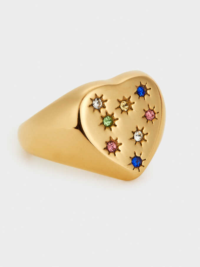 Heart Steel Ring, Golden, hi-res