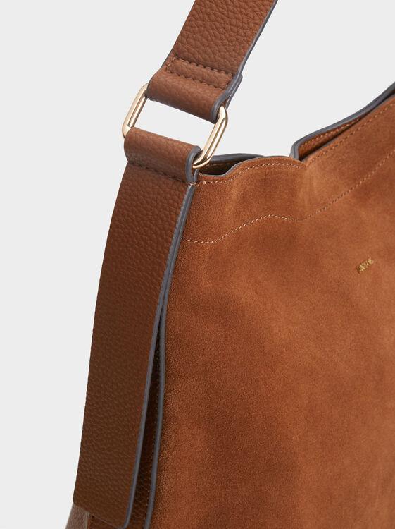 Suede Bucket Bag, Camel, hi-res