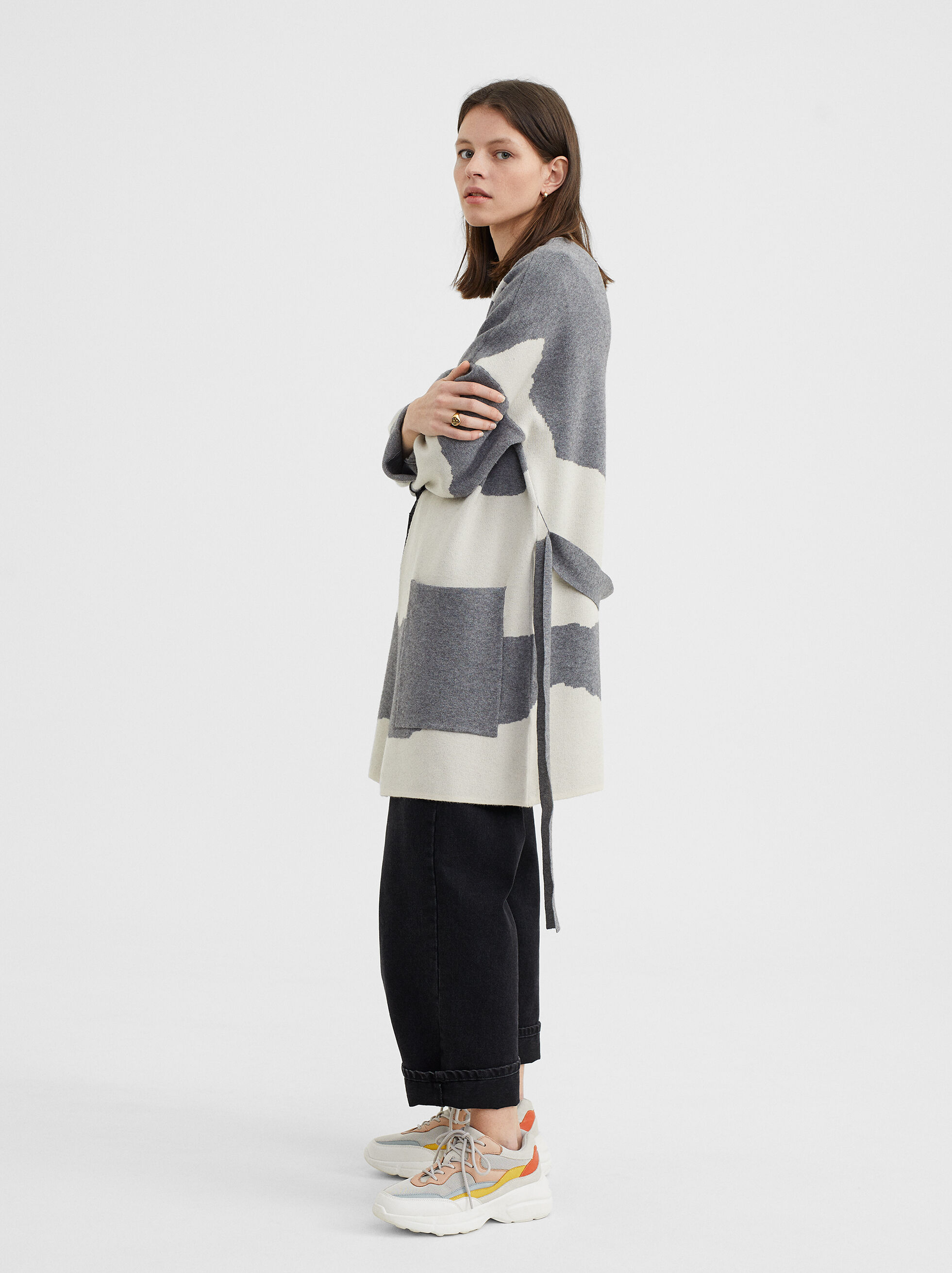 Knit Kimono With Belt, Grey, hi-res