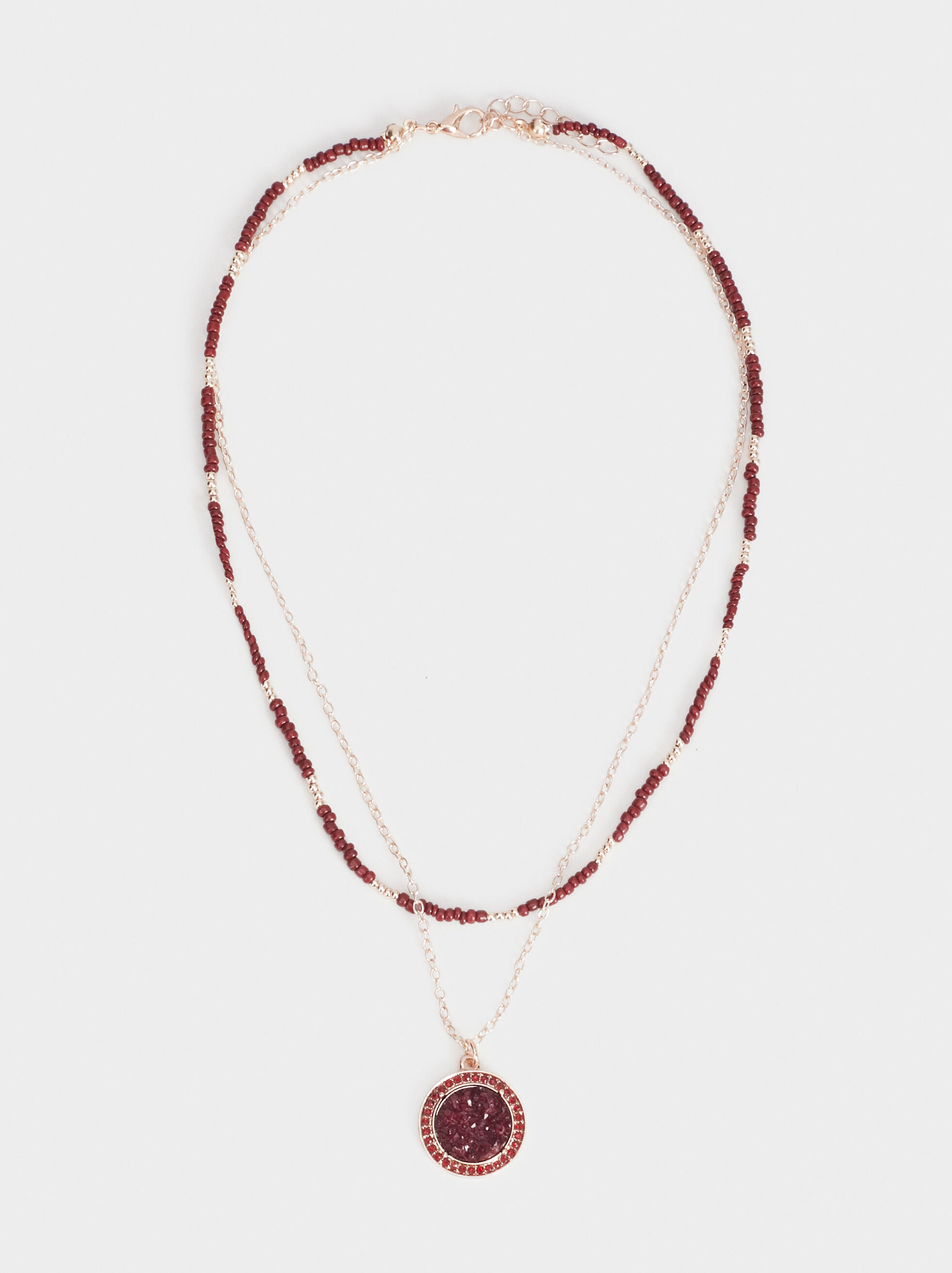 Rose Berry Long Necklace, Multicolor, hi-res