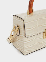 Crossbody Bag With Wooden Handle, Ecru, hi-res
