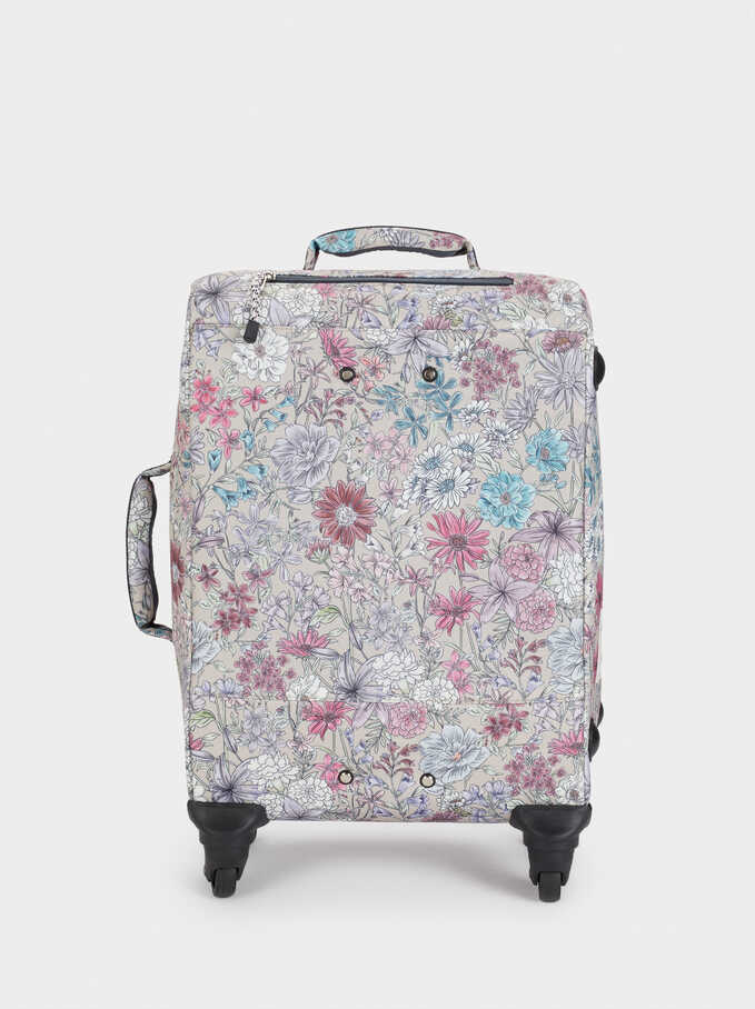 Floral Print Nylon Suitcase, Brown, hi-res