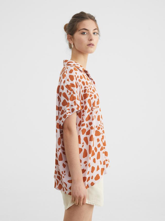 Animal Print Oversized Shirt, Pink, hi-res