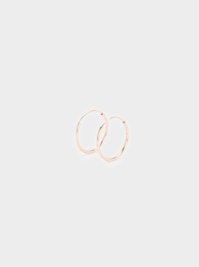 Short 925 Silver Hoop Earrings, Orange, hi-res