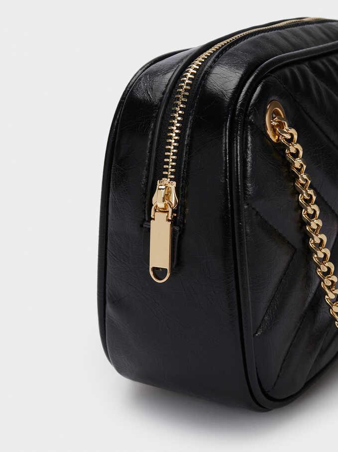 Quilted Shoulder Bag With Contrast Strap, Black, hi-res