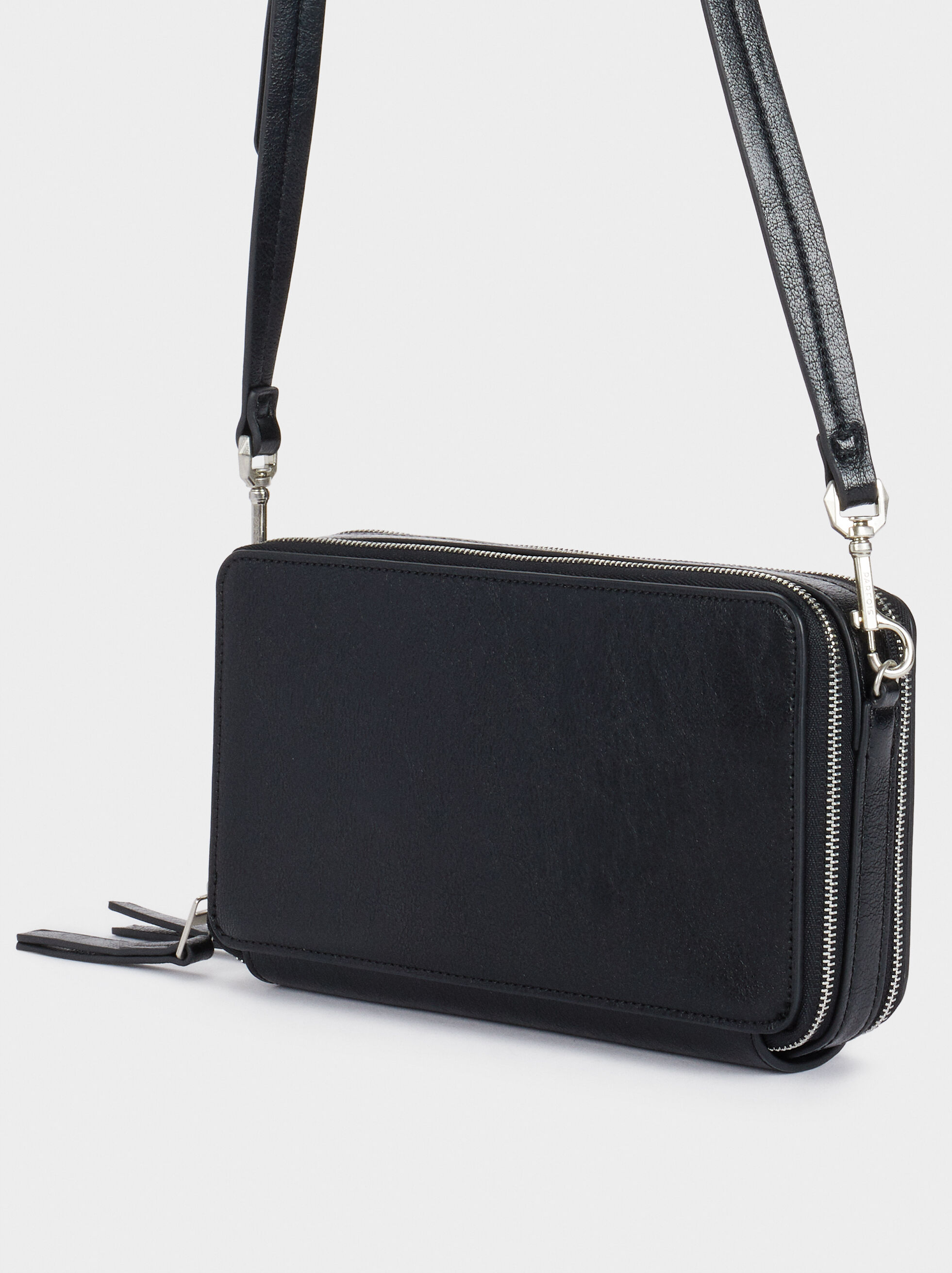 Purse With Crossbody Strap, Black, hi-res