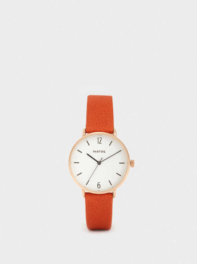 Watch With Metallic Gold Strap, Orange, hi-res