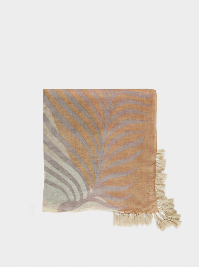 Printed Scarf With Tassels, Bordeaux, hi-res