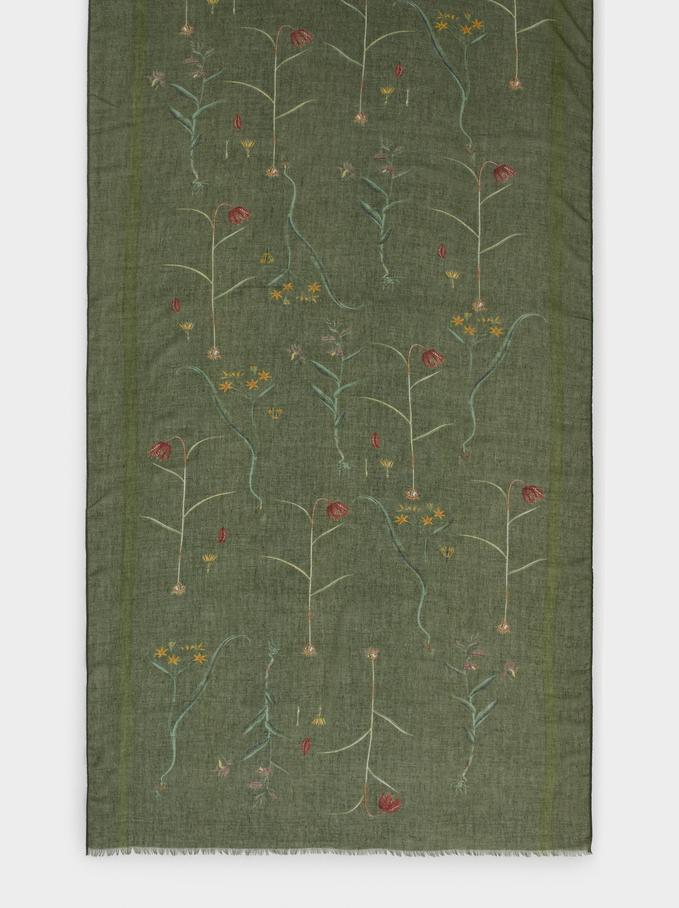 Foulard Imprimé Floral, Vert, hi-res