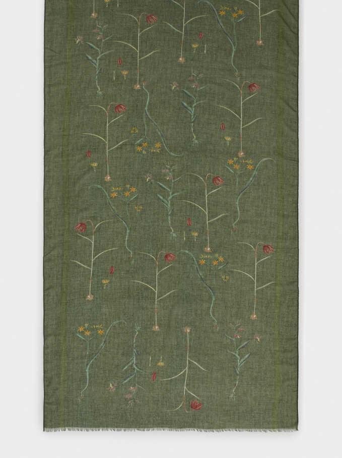 Pañuelo Estampado Floral, Verde, hi-res