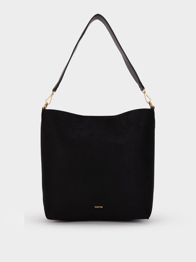 Suede Texture Handbag, Black, hi-res