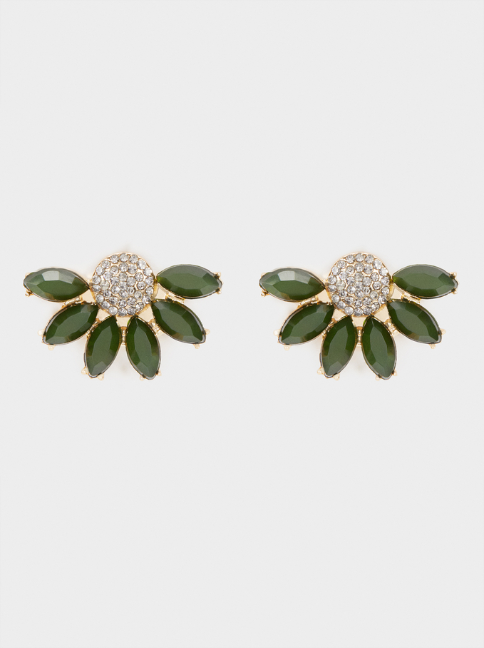 Short Earrings With Multicoloured Flowers And Crystals, Multicolor, hi-res