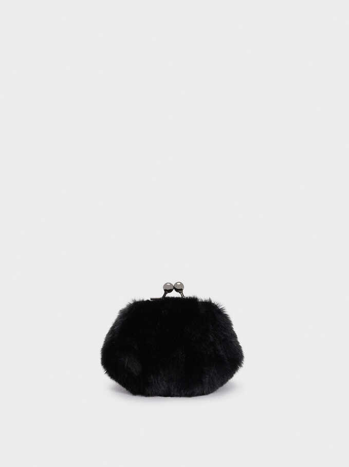 Faux Fur Purse With Clasp Fastening, , hi-res