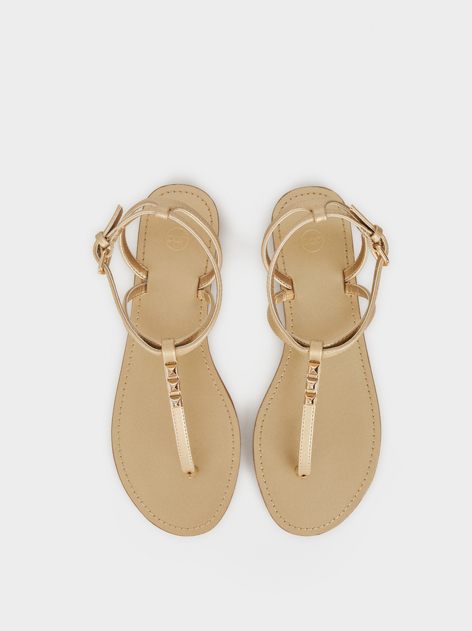 Sandálias Rasas Pormenor Tachas, Dourado, hi-res