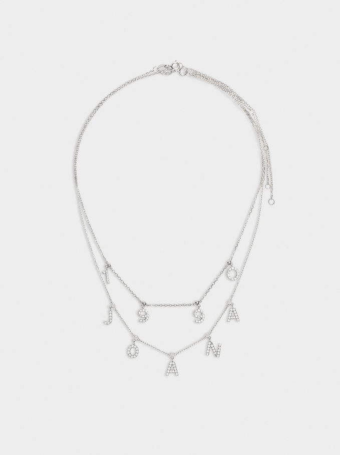 Short 925 Silver Customizable Golden Necklace, Silver, hi-res